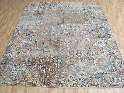 A TERRIFIC OLD HANDMADE PATCHWORK ORIENTAL RUG (219 x 176 cm)