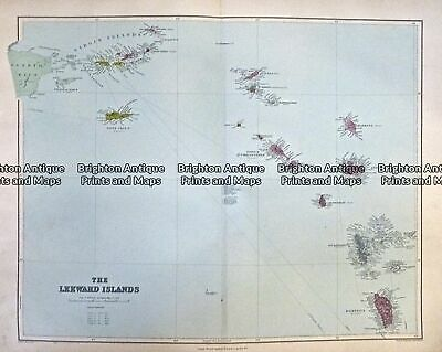 Antique map - Leeward Islands West Indies by Stanford  c.1887  Ref# 232-714
