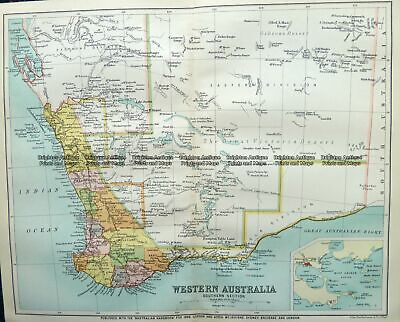 Antique Map 9-825  WA - South West  c.1896 WA, SA & NT