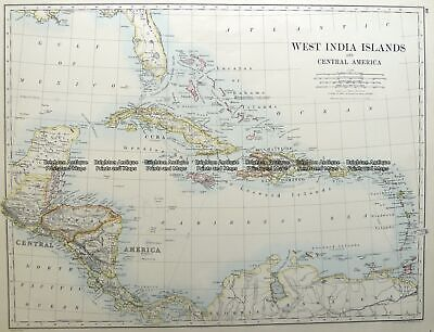Antique Map 8-184  West Indies & Central America by Johnston  c. 1886 Other
