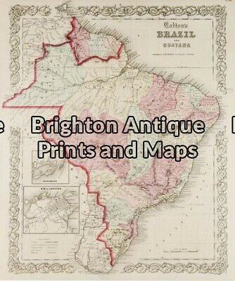 Antique Map 12-196 - South America - Brazil Cowperthwaite - circa 1850 Hand c...