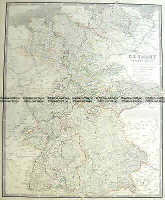 Antique Map 5-211  Germany - Western States by A K Johnston  c.1850 Germany