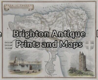 Antique Map 4-159 - England - Isle of Thanet Moule - circa 1840 Hand coloured...