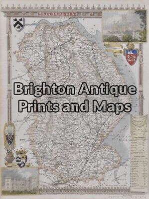 Antique Map 4-162 - England - Lincolnshire Moule - circa 1840 Hand coloured s...