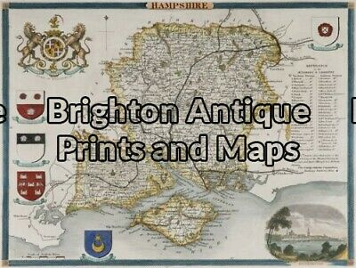 Antique Map 4-146 - England - Hampshire Moule - circa 1840 Hand coloured stee...