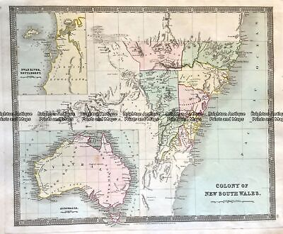Antique Map 3-818  NSW and Australia by Teasdale c.1847 Australia - Continent