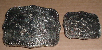 Pair of 1986 Hesston Belt Buckle National Finals Rodeo NFR Adult & Youth Size