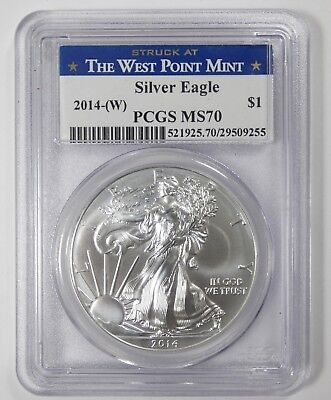 2014-(W) 1 oz SILVER Eagle $1 PCGS MS 70 ~ Struck at the West Point Mint
