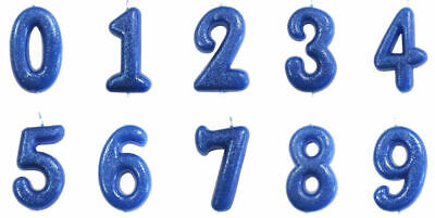 Blue Glitter Age Number Candle Birthday Party Cake Topper Decoration Gift Idea