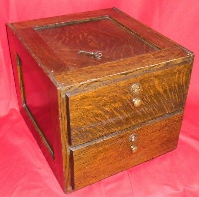 Antique Two Drawer Panel Side Oak File Box / Cabinet w/ Brass Knobs