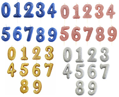 Glitter Number Candles Birthday Party Age Cake Topper Anniversary Decoration