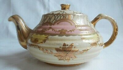 Vintage Radnor cream, pink and gold tone teapot