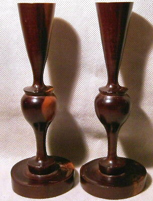 Hand Crafted Pair of Jerusalem Turned Olive Wood Candlesticks