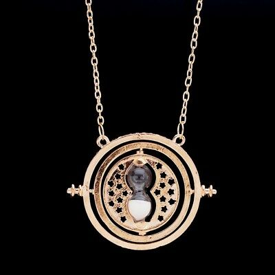 Gold Time Turner Hermione Granger Harry Potter White Rotating Hourglass Necklace