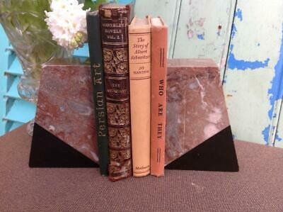 Vintage French Art Deco Marble Bookends Clock Garnitures 1920's Chic Interiors