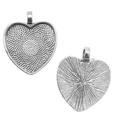 Antiqued Silver Plated Heart Bezel Pendant 25mm - 1 Inch (1)
