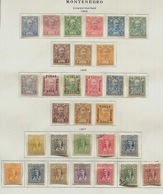 Montegegro 1894 - 1913 MH  / Used Collection on Album Pages