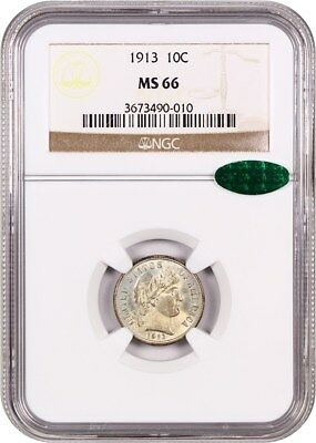 1913 10c NGC/CAC MS66 - Subdued Luster - Barber Dime - subdued luster