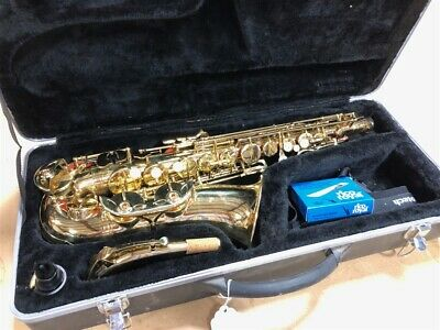 Non Branded Alto Saxophone with Case, Reeds, Strap, & Mouthpiece