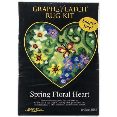 """Latch Hook Kit Rug Making Kit by MCG Textiles - Spring Floral Heart 30x27"""""""