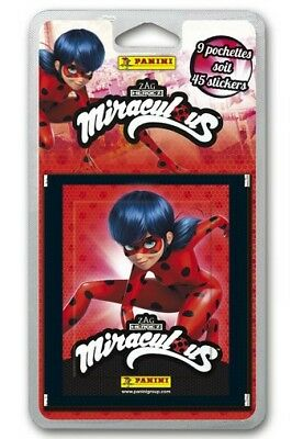 LOT 45 Stickers MIRACULOUS PANINI  soit 9 paquets d' images - NEUF