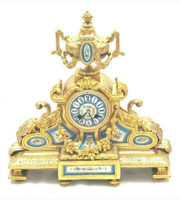 Antique French Mantle Clock 8 Day Beautiful Gilt Metal & Blue Sevres porcelain