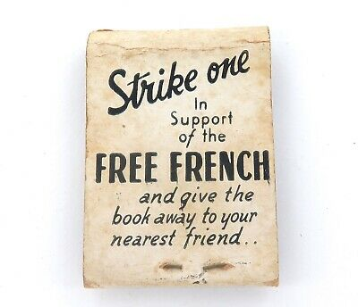 """.rare Ww2 """"Strike One In Support Of The Free French"""" Australian Made Matchbook."""