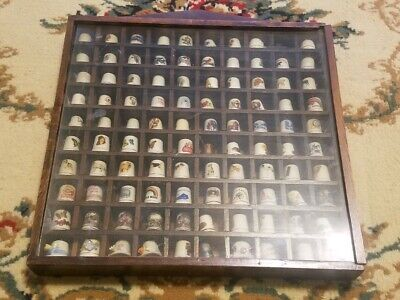 Lot of 100 Collectible Metal and Glass Thimbles in Wooden Display