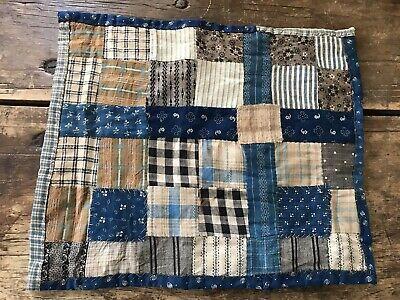 Early Antique Inspired Handmade Blue Calico Doll Baby Quilt Textile AAFA