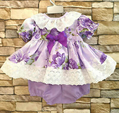 Dream 0-5 Years Lilac Lavender Spanish Blouse Top & Bubble Pants Or Reborn Dolls