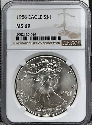 1986 Silver American Eagle 1 oz Silver Coin $1  NGC MS69 Freshly Graded!!!