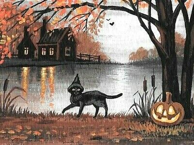 1.5x2 DOLLHOUSE MINIATURE PRINT OF PAINTING RYTA 1:12 SCALE HALLOWEEN CELLO ART