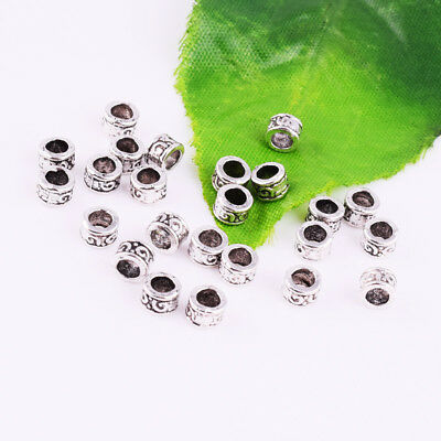 50pcs Tibetan Silver Spacer Beads Metal Small Round Tube Jewelry Findings 5x3mm