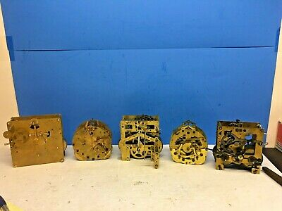 ANTIQUE Clock Movement's , 5 total , SILESIA, JUNGHANS, HOWARD MILLER, SETH THOM