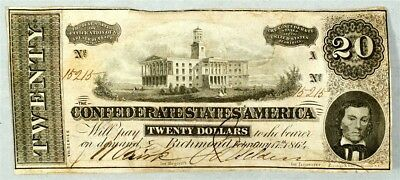 1864 Confederate States $20 Note T-67 CSA Civil War Currency Serial #15215 - VF+