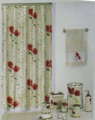 Echo Shower Curtain Red Orange Poppies Rive Gauche Fabric Floral NEW