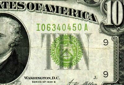 $10 1928B  Lgs (( Light Green Seal ))  Frn ** More Currency For Sale **