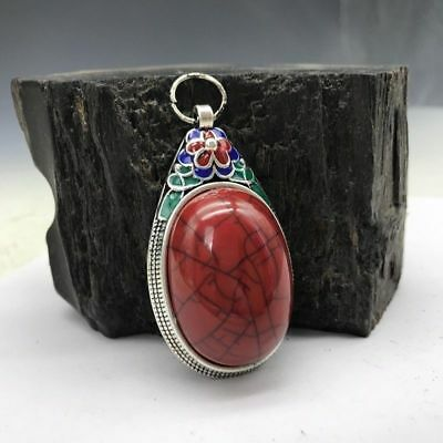 Collection of Chinese Cloisonne pendant inlaid with artificial gemstones.   b767
