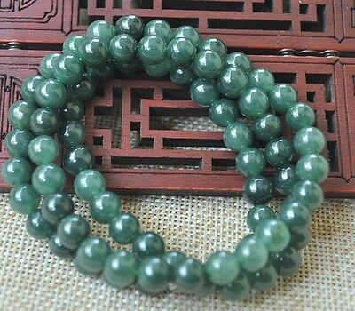 8mm 100% Natural A green Emerald Jade Pendant ~ Necklace Have certificate 055