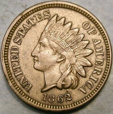 1862 Indian Head Cent/penny Copper Nickel Rare Sharp Point In Bust Full Liberty