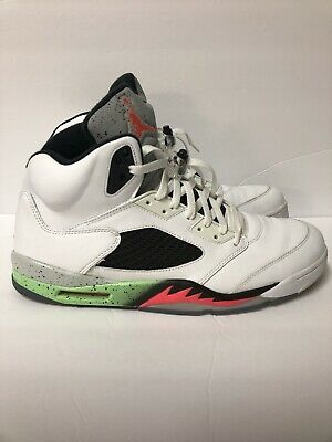 official photos a8e34 b4dff Rare Nike Air-Jordan 5 Retro White Infrared 23 Poison Green 136027-115 Size