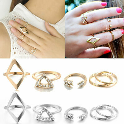 Fashion Women 5Pcs/Set Gold Silver Above Knuckle Finger Ring Band Midi Rings #