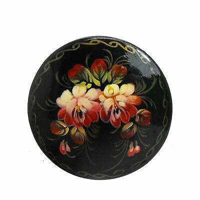 Russian Lacquer Brooch Floral Handpainted Folkart Red Pink Rosemaling Signed
