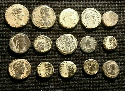 Lot Of 15 Super Sharp High Grade Bronze Ancient Bronze Roman Coins