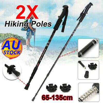 AU 2x Trekking Hiking Poles Walking Stick Anti Shock Camping High Quality