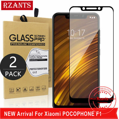 2X For Xiaomi Pocophone F1 Tempered Glass Screen Protector Film Full Cover