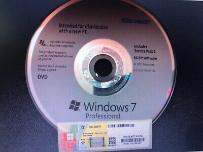 MS Microsoft Windows 7 Pro (SP1) 64bit + Lizenz Key OEM Hologramm DVD