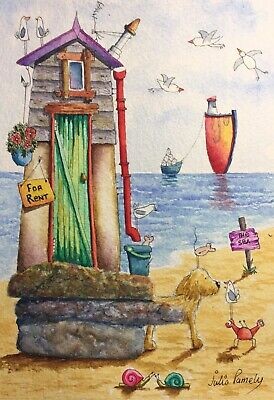 Original Watercolour Painting by JULIA Seaside Beach Huts, Dog, Mouse, Boat