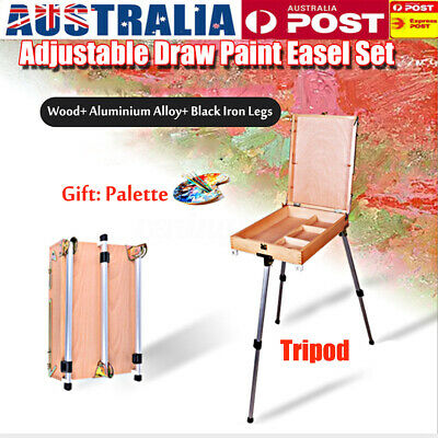 AU Painter Wooden Artist Canvas Holder Sketch Paint Box Easel Aluminium Tripod