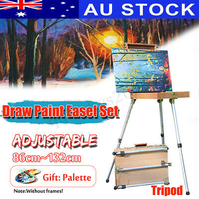 AU Painter Artist Painting Wooden Table Holder Sketch Box Easel Aluminium Tripod